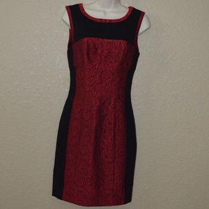 Sz 4 Yoana Baraschi Red Black Lace Sheath Dress
